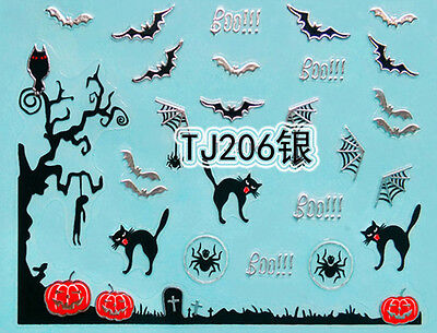 Halloween Tree Nails (Halloween Silver Tree Branch Bats Cats Pumpkin Webs 3D Nail Art Sticker)