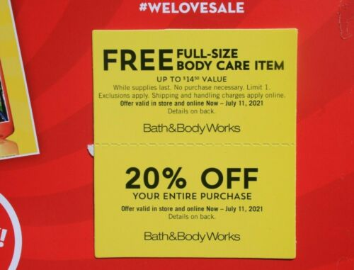 BATH & BODY WORKS 20% OFF & FULL-SIZE BODY CARE ITEM EXP 7/11/21
