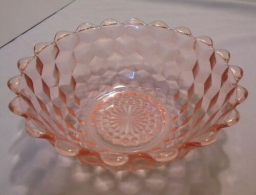 """Cube By Jeannette, Pink Serving Bowl, Scalloped Top, 7.5"""" Across Top, Vintage"""