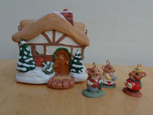 Hallmark Ornament 1995 A MOUSTERSHIRE CHRISTMAS 4 Piece Miniature Set MIB