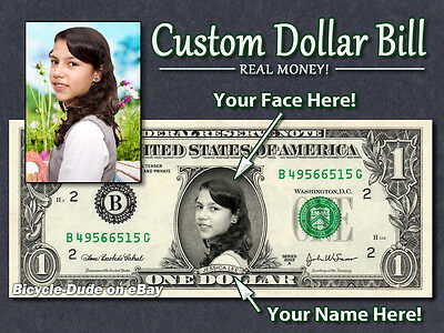 REAL $1 Dollar with Your FACE & NAME Picture Custom Personalized Cash Money (Your Face Movie)