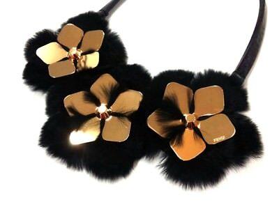 Auth FENDI Black Gold Leather &  Metallic Material Fur Choker