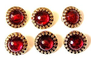 6 GORGEOUS LARGE RED  DIAMANTE GEMSTONE BUTTONS GOLD EDGE 21mm