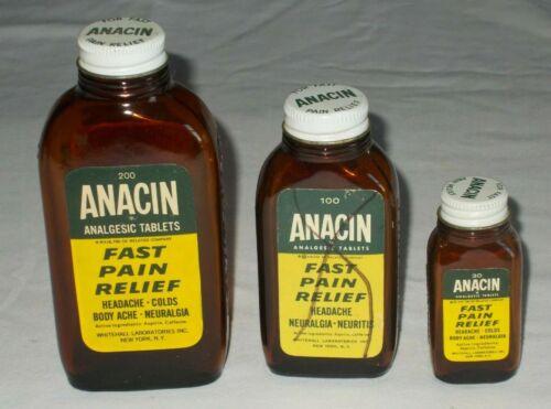 Vintage Anacin Amber Glass Bottles Set of 3 Medicine Whitehall Laboratories NICE