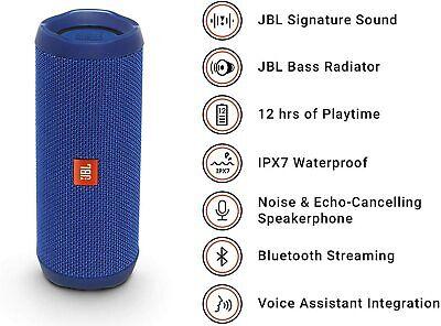 BLUE JBL FLIP 4 PORTABLE WATERPROOF BT SPEAKER