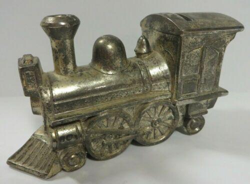"""Vintage Silver Cast Iron LOCOMOTIVE TRAIN PIGGY BANK Japan I.S. Co. 5.75"""" x 3.5"""""""