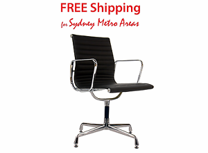 SALE - Eames Style Fixed Office Chair - Italian Leather Zetland Inner Sydney Preview