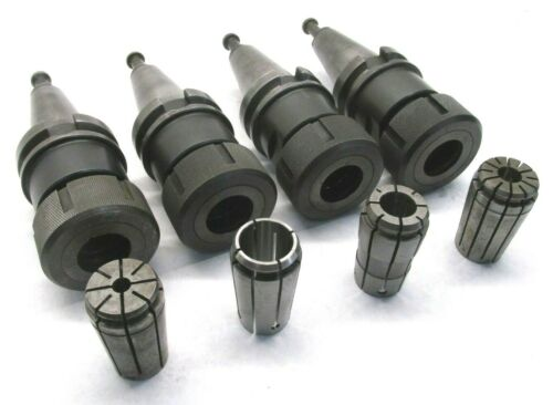 4 LYNDEX TG100 COLLET CHUCKS w/ BT40 SHANKS & COLLETS
