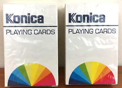 - 2 x VINTAGE SEALED PACKS OF KONICA FILMS & CAMERAS PLAYING CARDS UNOPENED