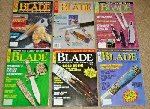 Lot of 6 BLADE Magazines Complete Year 1991 Volume 18, Knives