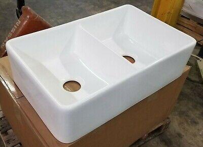 "32"" White Fireclay Farmhouse Double Bowl Kitchen Sink - Drain & Grids"