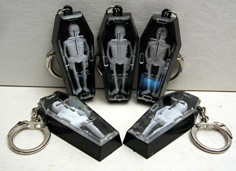 6 Skeleton in Coffin Keychain Charm Vending Machine Toy Prize Old Store Stock