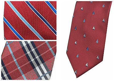 Dockers Men's Neck Tie Red Glen Plaid Nautical Sailboat Stripe Neckties NEW  - Nautical Tie