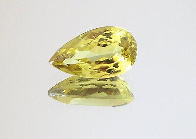 1.84ct UNTREATED GOLD YELLOW NATURAL CHRYSOBERYL PEAR VVS