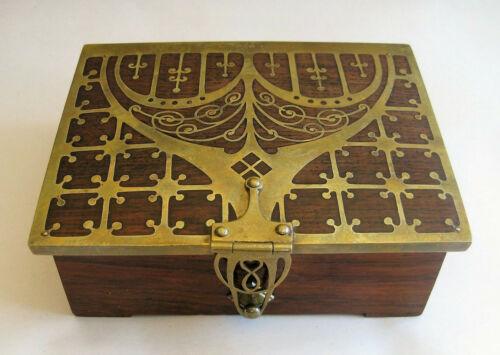 Erhard & Sohne Brass Palisander Inlay Trinket Box Art Nouveau Arts & Crafts 1900