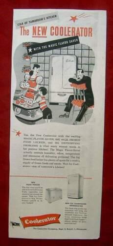 VINTAGE AD FROM 1945 SATURDAY EVENING POST - COOLERATOR REFRIGERATOR