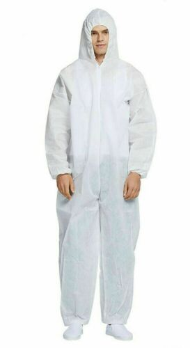 Lot of 5 Reusable Coverall Protective Suit Isolation Gown Hooded Safety XL 180