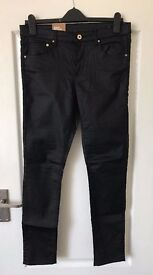 New leather look jeans with tags, size 30