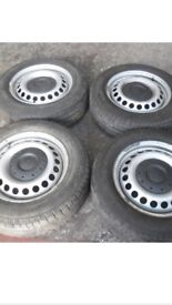 Vw Transporter Wheels and Tyres with centre caps, off 2010 model. Good Condition