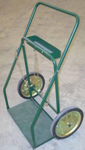 "Oxygen Acetylene Large Welding Cylinder Tank Cart 14"" Wheels 13 x 25 Platform"