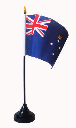 "VICTORIA AUSTRALIA TABLE FLAG 6"" X 4"" with pole & base Polyester Australian"