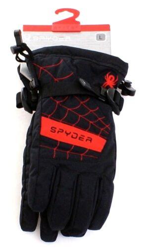 Spyder Overweb Black & Red Ski Gloves Youth Boy