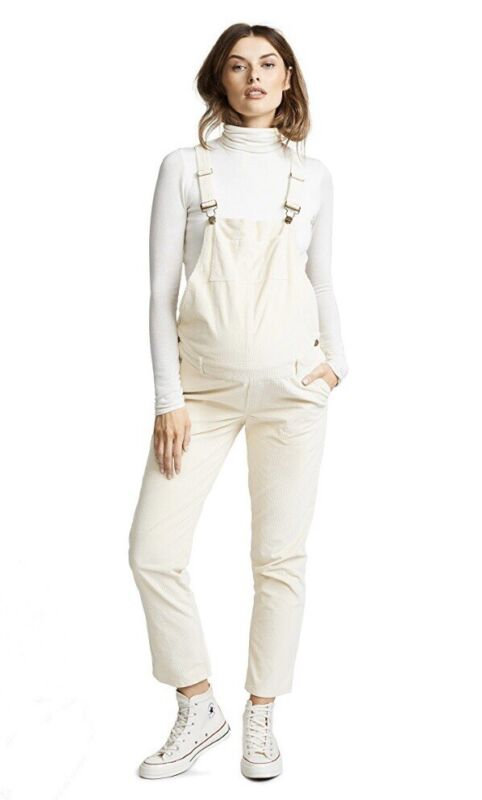Hatch Maternity Women's THE CORD OVERALL Ivory Size 3 (LRG/12) NEW