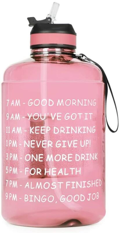 1 Gallon Motivational Gym Sport Water Bottle with Straw, Time Marker Large Jug