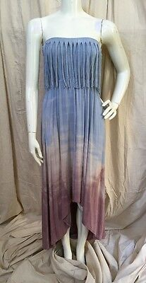 T-Party Strapless Lt. Blue/Rose Tye Dyed Fringed Hi-Low Maxi Dress NWT! Sz S - Party Blue Rose