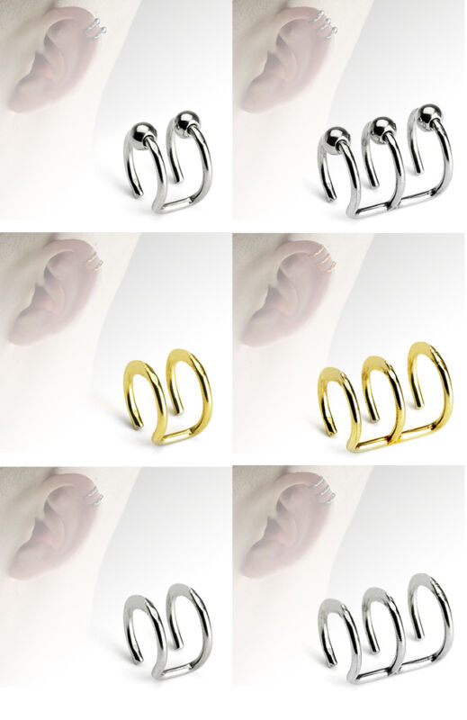 316L Surgical Steel Fake Cartilage Double or Triple Closure Ring Ear Cuff