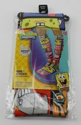 Spongebob Squarepants Sublimated Knee-High Socks Adult One Size Fits Most Nick](Spongebob Squarepants Adult)