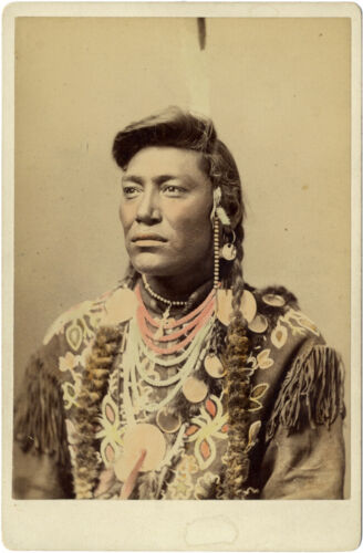 1880s Crow Indian Chief Little Head Colorized Cabinet Card by Haynes, St. Paul