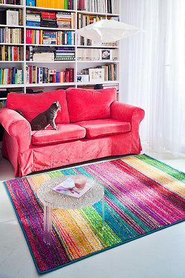 Teppich modern Design Dor bunt Streifen Wohnzimmer pink türkis gelb blau grün