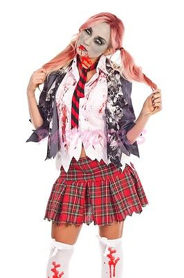 OP 117 Ladies Costume Fancy Dress Halloween Scary Zombie School Girl Sz 6-16 (Scary School Girl Halloween Costume)