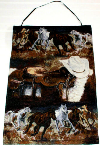 "Western Tapestry Hanging 17"" x 26"" ""Western Way"" Decor Horses Saddle Cowboy Hat"