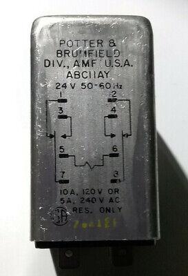 Potter Brumfield Abc11ay 120 Volt Relay 8 Tabs 10a-120v 5a-240v Res. Only