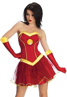 Damen Sexy Marvel Avengers Iron Man Superheld Tutu Kostüm Kleid Outfit ()