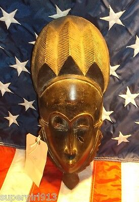 Antique Ethnic African Tribal Guru Mask  Hand Carved - Authentic !