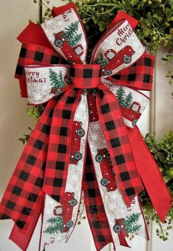 RED TRUCK & BUFFALO CHECK WIRED BOW for WREATH SWAG GARLAND MAIL POST # 100 rb