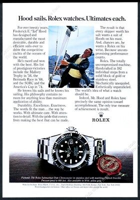 1980 Rolex Submariner Date watch yacht sail maker Ted Hood pic vintage print ad