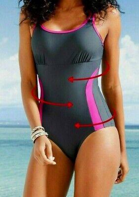 Damen Badeanzug Gr 44-46-48-50 Schwarz weiß Palmenmuster NEU