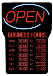 OPEN SIGN WITH BUSINESS HOURS (ENG), Black - $110