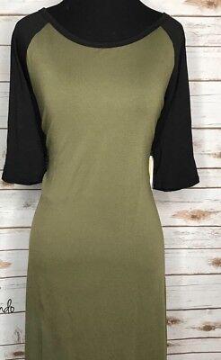 LuLaRoe 2XL Julia Dress Randy Baseball Jersey Style Olive Black NWT - Baseball Jersey Dress