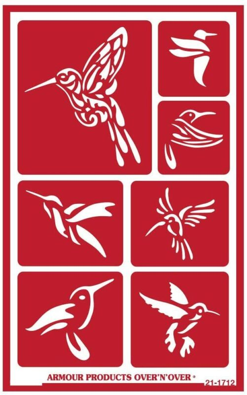 Armour Reusable Over n Over Glass Etching Stencil -  Hummingbirds