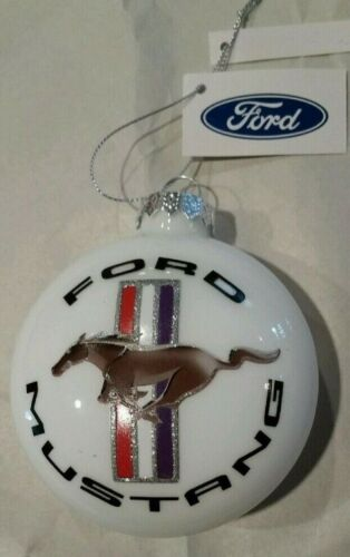 Ford Mustang Glass Christmas Ornament