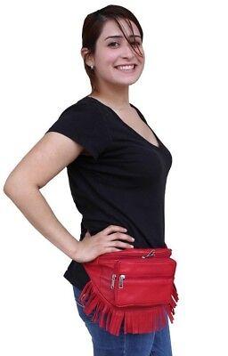 - Music Festival Black Leather Fanny Pack Fur Fringe Travel Pouch Hip Bag Red Navy
