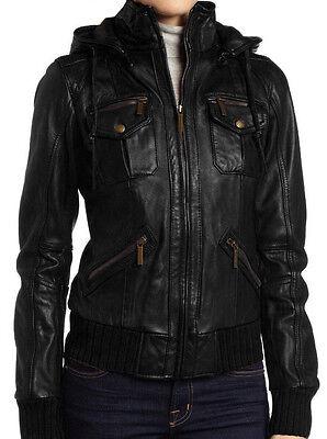 Women's Lambskin Detachable Hooded Leather Bomber Jacket
