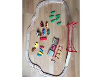 47 pieces wooden train set fits brio. Inc 20 track, bridge, trains, wagons, accessories