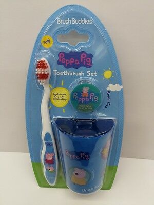 Peppa Pig 3 Pieces Toothbrushes Set Cup For Kid Must L  K