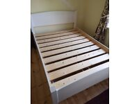 Warren Evans solid wood double bed, drawers and desk (white crackle effect)